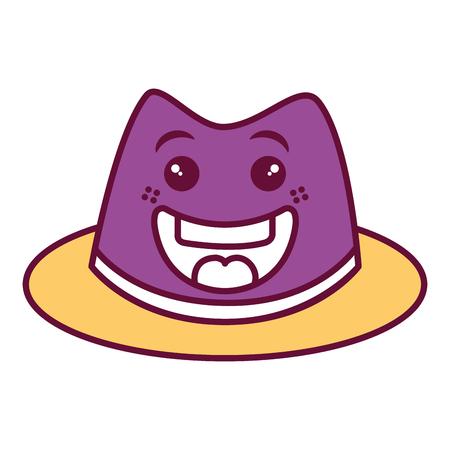 gentleman hat kawaii character vector illustration design Stock Photo