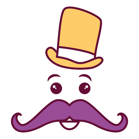 kawaii character with hat and mustache vector illustration design Stock Illustration - 82406415