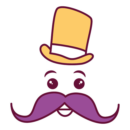 kawaii character with hat and mustache vector illustration design Stock Photo
