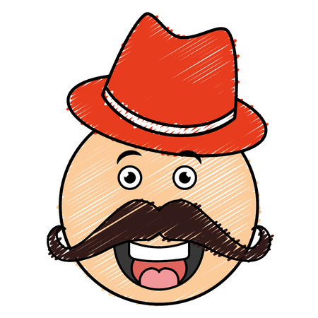kawaii character with hat and mustache vector illustration design Illustration