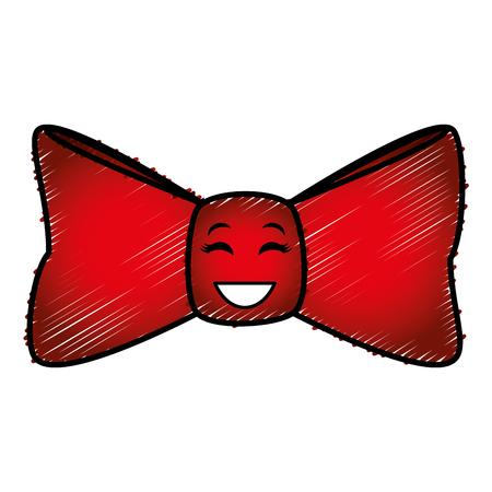 elegant bowtie kawaii character vector illustration design