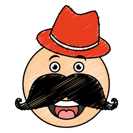 kawaii character with hat and mustache vector illustration design Stock Vector - 82406429