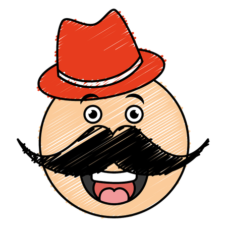 kawaii character with hat and mustache vector illustration design Stock Vector - 82406493