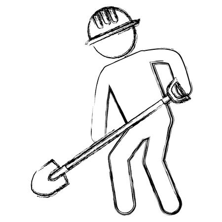 hard: worker with shovel silhouette vector illustration design