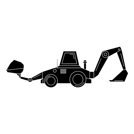 excavator construction isolated icon vector illustration design