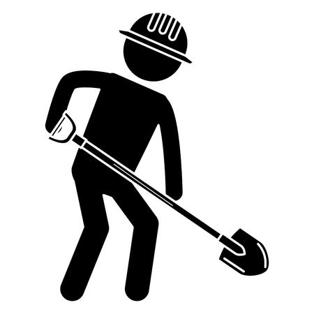 Arbeiter mit Schaufel Silhouette Vektor-Illustration Design Standard-Bild - 82408709