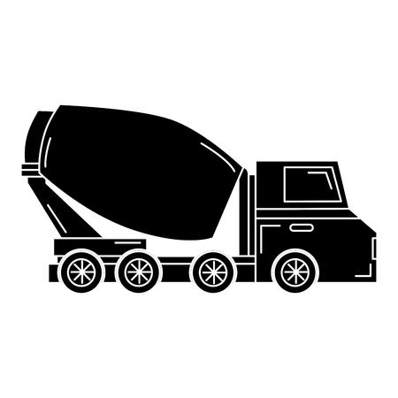 heavy: concrete mixer truck icon vector illustration design