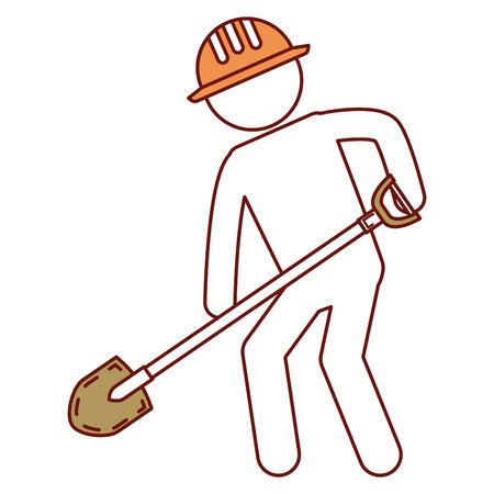 worker with shovel silhouette vector illustration design Reklamní fotografie - 82408724