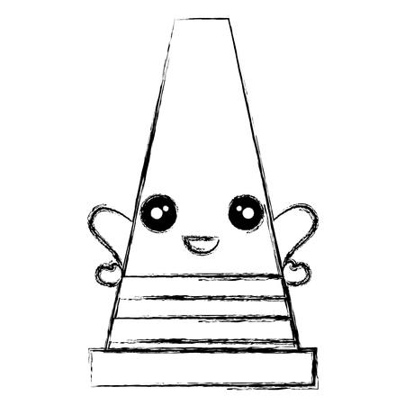 construction cone kawaii character vector illustration design Illustration