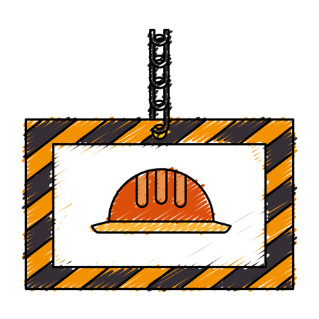 construction board hanging icon vector illustration design