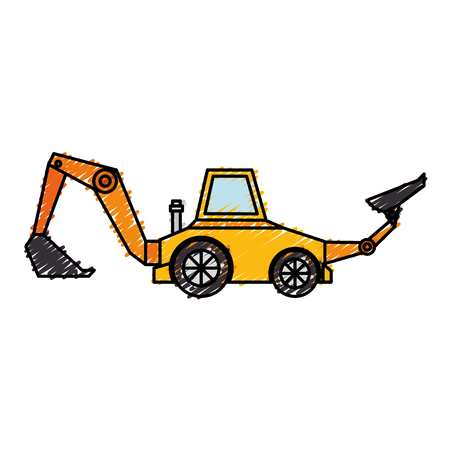 heavy construction: excavator construction isolated icon vector illustration design