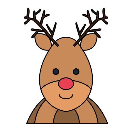 cute christmas reindeer character vector illustration design
