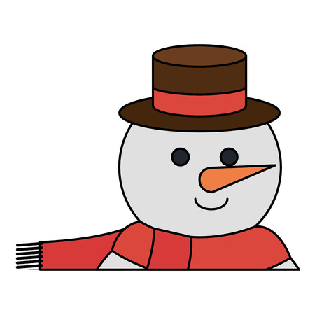 cute christmas snowman character vector illustration design