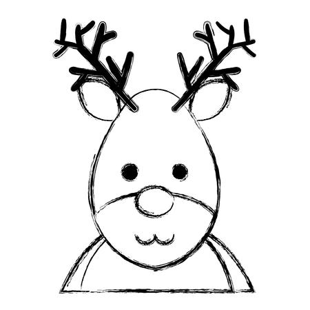 cute christmas reindeer character vector illustration design