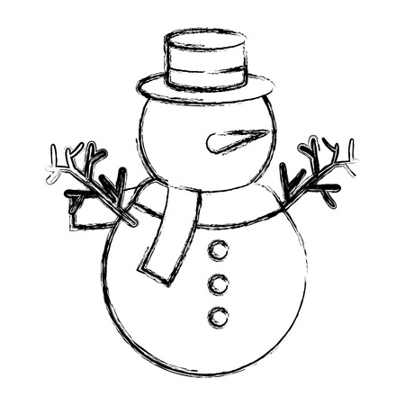 cute christmas snowman character vector illustration design Zdjęcie Seryjne - 82408939
