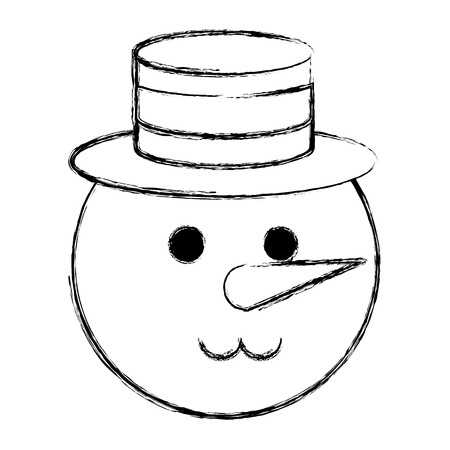cute christmas snowman character vector illustration design