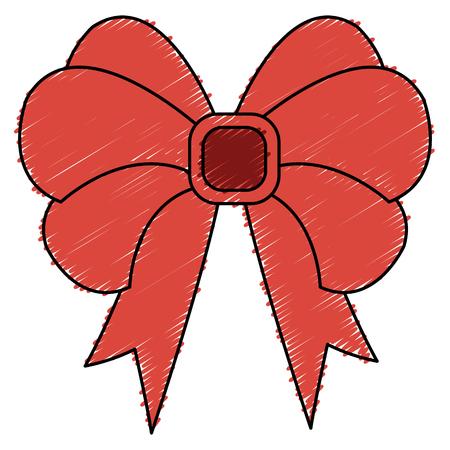 bown christmas decorative icon vector illustration design