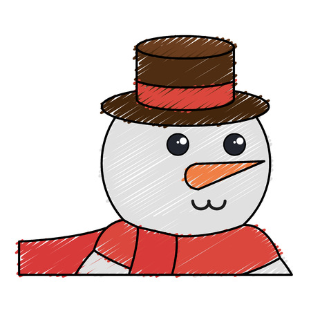 cute christmas snowman character vector illustration design Zdjęcie Seryjne - 82409475