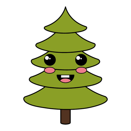 coniferous forest: christmas pine tree kawaii character vector illustration design Vectores