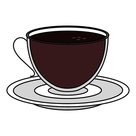 접시 벡터 일러스트 디자인을 가진 커피 컵