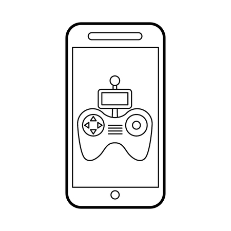 wireless icon: smartphone with Drone remote control app vector illustration design