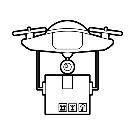 drone flying technology with box carton vector illustration design