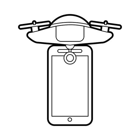무인 항공기 무인 항공기 원격 제어 애플 리케이션 벡터 일러스트 레이션 디자인