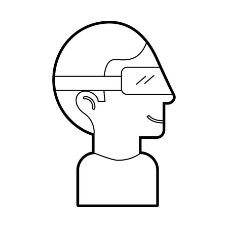 wireless icon: Man with virtual reality glasses vector illustration design