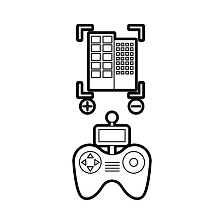 wireless icon: Drone remote control with building vector illustration design Illustration