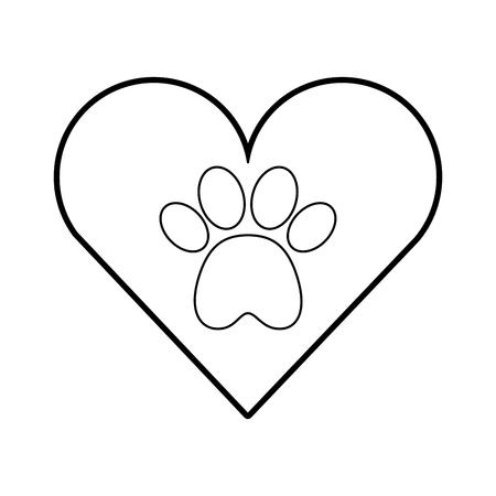 Coeur avec patte patte mascotte isolé icône illustration vectorielle design Banque d'images - 82527467