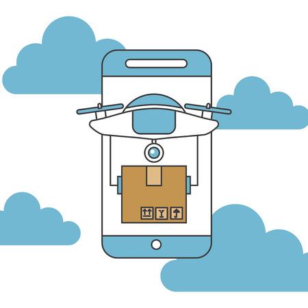 Drone send correspondences icon vector illustration design graphic