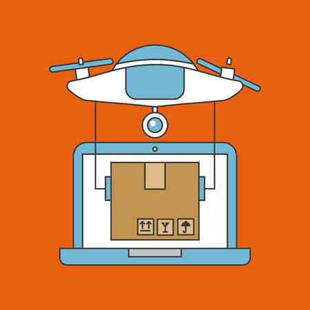 Drone send correspondences icon vector illustration design graphic