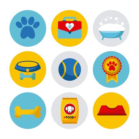 Wonderful dogs accessories icon vector illustration design graphic Ilustração