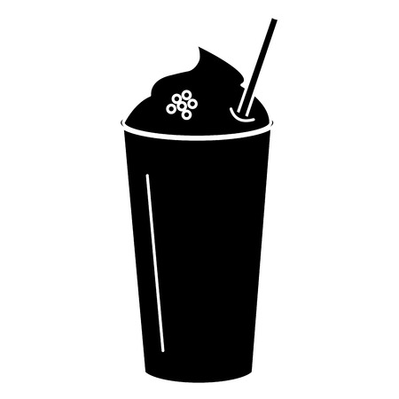 coffee shake with straw vector illustration design