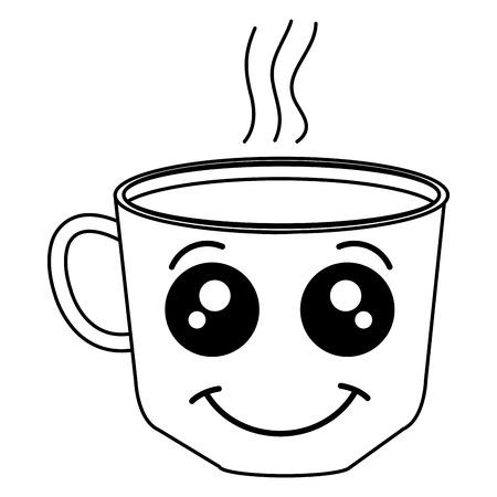 Coffee cup kawaii character vector illustration design Illustration