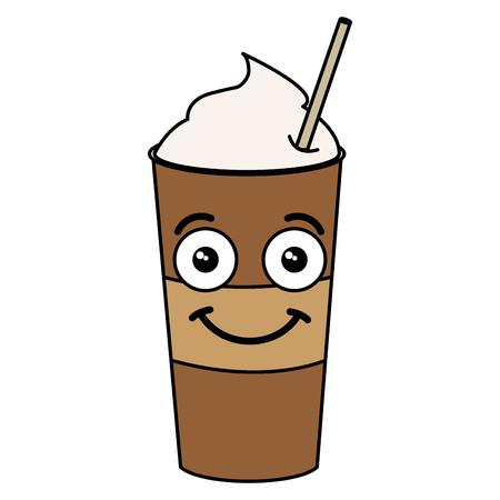 わらのカワイイ文字ベクトル イラスト デザインで、コーヒーを振る