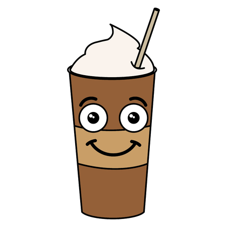 Kaffeerüttung mit Stroh kawaii Charaktervektor-Illustrationsdesign Standard-Bild - 82558916