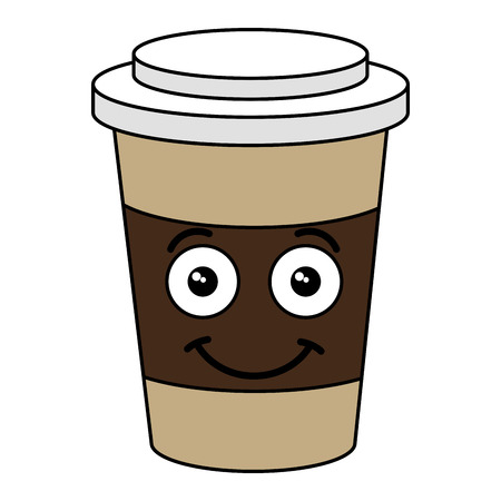 Coffee in plastic cup kawaii character vector illustration design