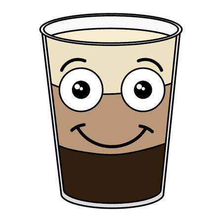 커피 가루 신선한 가와이 문자 벡터 일러스트 디자인을 흔들어. 일러스트