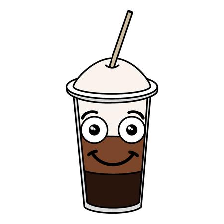 Coffee shake with straw kawaii character vector illustration design