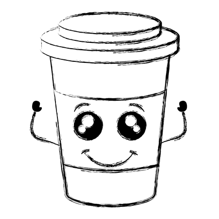 プラスチック製のカップかわいい文字ベクトル イラスト デザインのコーヒー