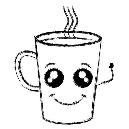 커피 잔 카와이 문자 벡터 일러스트 레이션 디자인 일러스트