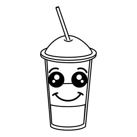 Caffè scuotere con paglia kawaii carattere illustrazione vettoriale illustrazione Archivio Fotografico - 82556311