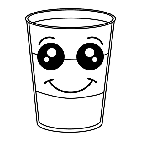 Coffee shake fresh kawaii character vector illustration design Çizim