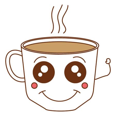 커피 컵 kawaii 문자 벡터 일러스트 레이션 디자인 일러스트