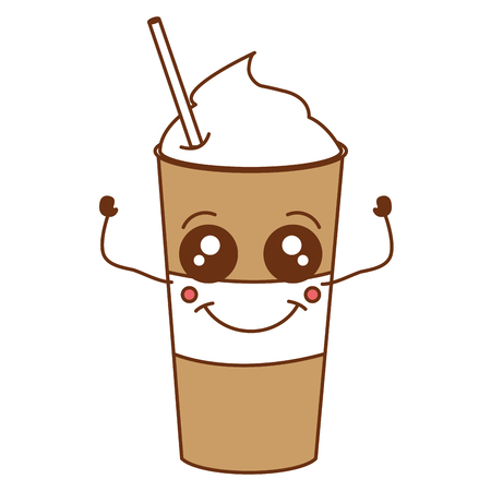 Coffee shake with straw kawaii character vector illustration design