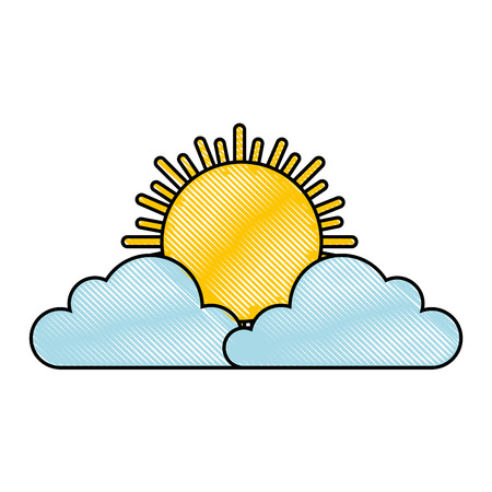 白い背景のベクトル図を雲と太陽のアイコン。