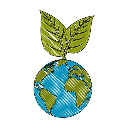 Earth planet and leaves icon over white background vector illustration Фото со стока - 82560417