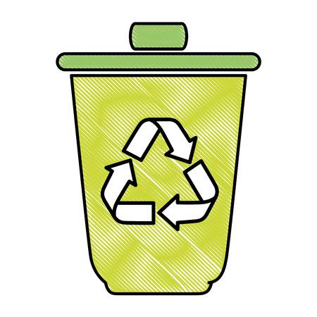 trash bucket icon over white background vector illustration Banco de Imagens - 82575161