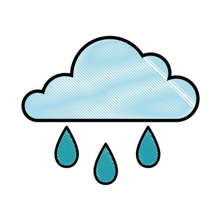 흰색 배경 벡터 일러스트 레이 션 위에 구름과 비 아이콘